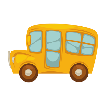 rearview: Cartoon yellow bus with big windows islated illustration Illustration