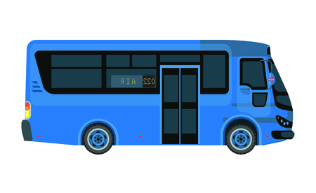 Airport bus in blue color isolated on white