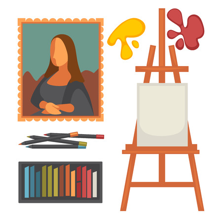 Art equipment set and masterpiece colorful vector poster