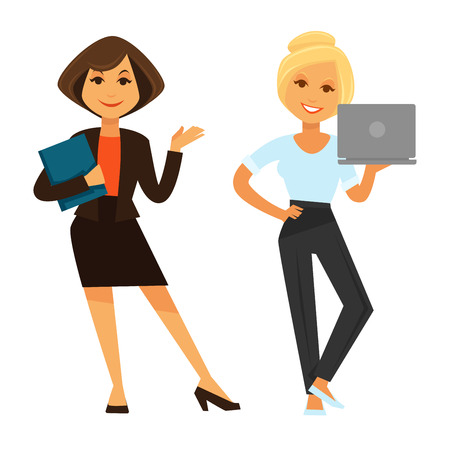 Two businesswomen holding laptop and folder isolated on white