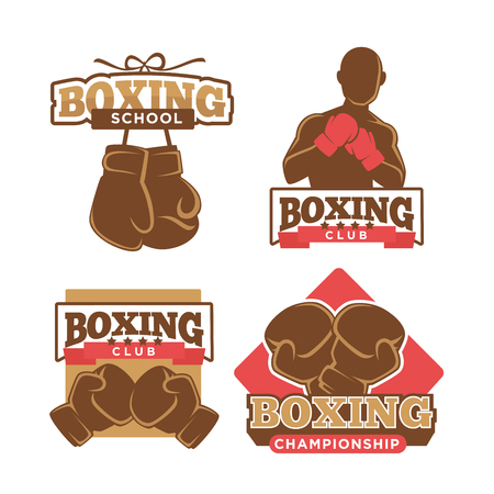 Boxing club colorful logo label set on white Illustration