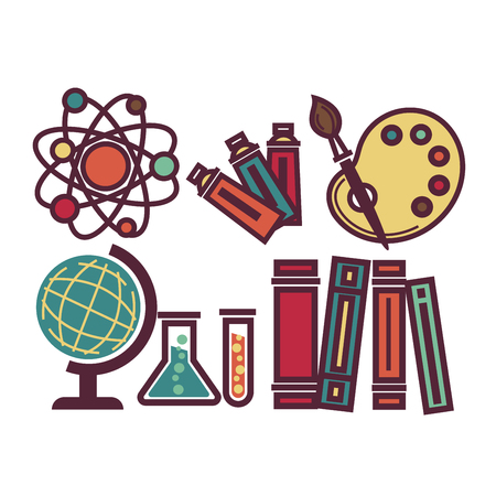 School items and equipments set vector poster in graphic design