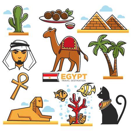 bandera de egipto: Egipto símbolos tradicionales mapa para viajeros vector póster Vectores