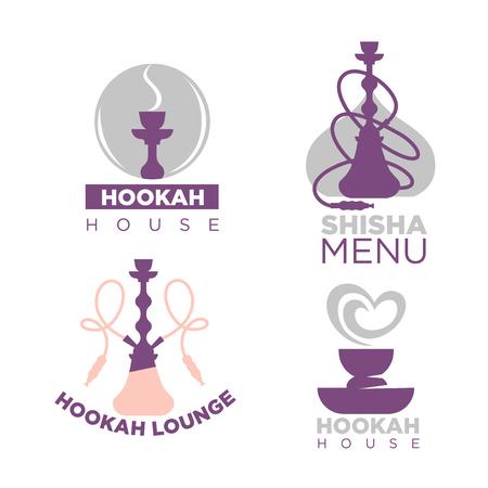 Hookah house logotypes colorful set isolated on white Illustration