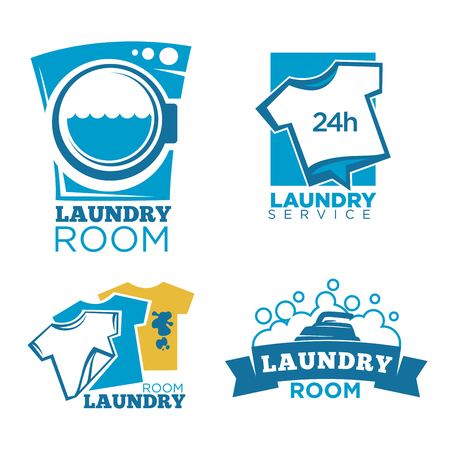 Logotipo di servizio lavanderia con attrezzature e vestiti Archivio Fotografico - 80949494