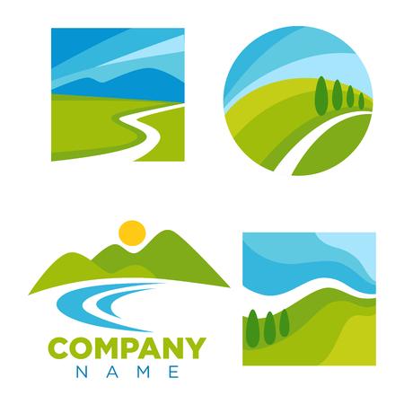 漫画の風景イラストの会社ロゴを設定