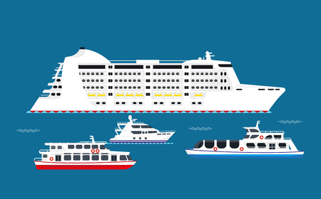 White big and small vessels in sea illustrations set Illustration