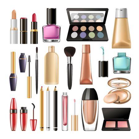 Decorative cosmetics for make up big realistic illustrations set