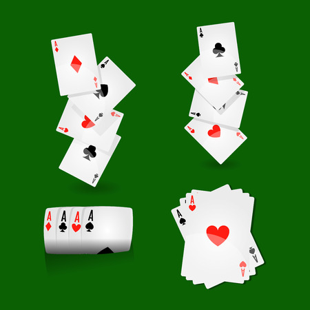 Play cards combinations with aces on green field