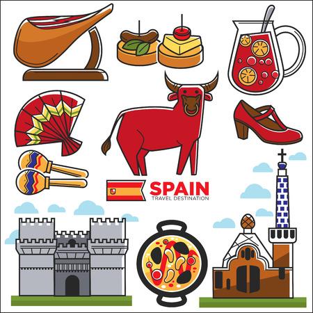 Spain travel destination promotional poster with customs illustrations Illustration