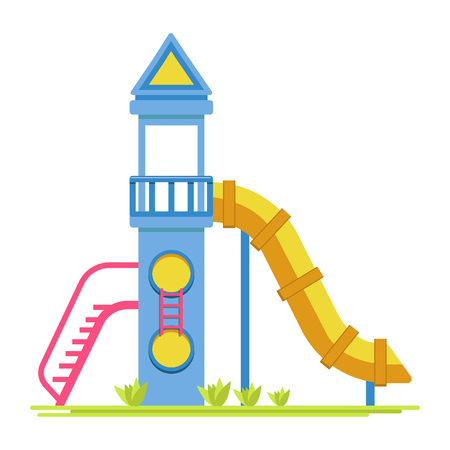 ladder  fence: Children rocket with slide on playground isolated illustration