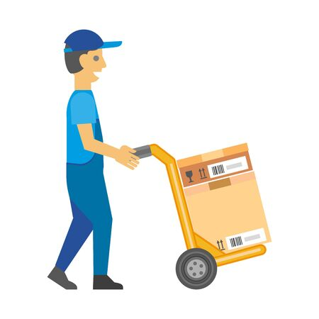 Man in overalls and cap pushes cart with box