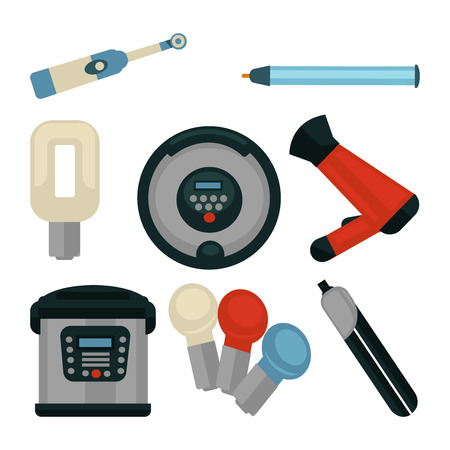 illuminator: Common electrical home appliances isolated flat illustrations set
