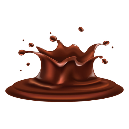 confection: Liquid chocolate splash with drops around isolated illustration