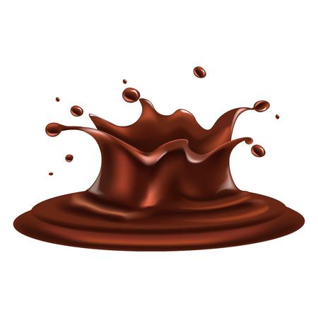 Liquid chocolate splash with drops around isolated illustration