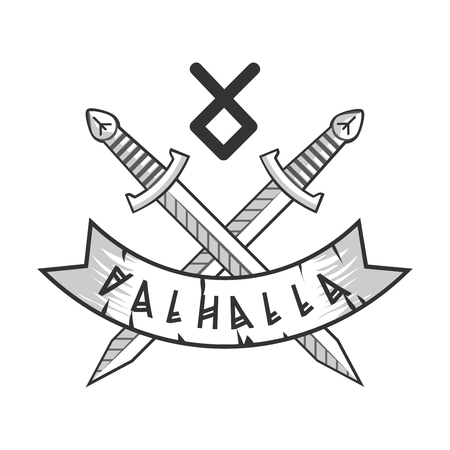 Valhalla isolated logotype with crossed monochrome swords and rune Illustration