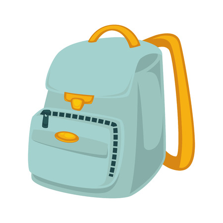 Light blue backpack with yellow slings isolated illustrations