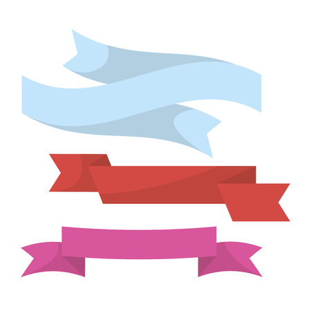 Blue, red and violet ribbons collection in twisted shape isolated on white vector illustration in flat design. Long lines made of clothing for decorating presents and other festival elements.