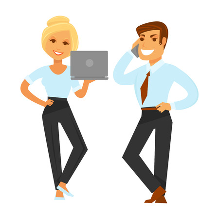 coworker: Blonde woman in blouse and trousers stands with laptop and man in suit without jacket in red talks by phone isolated vector illustration. Business People in formal clothes with modern devices.