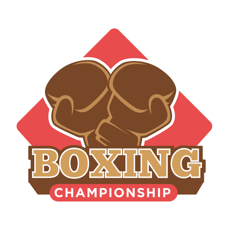 Boxing championship logo label with two gloves silhouette in brown color against red square isolated on white. Vector illustration in flat design of close up badge presenting fighting sport.