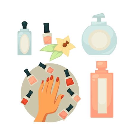 Spa salon equipment set for painting nails vector poster in flat design. Female hand with painted nails and jars with colors around, soap in plastic bottle, nail polish remover and other tools Illustration