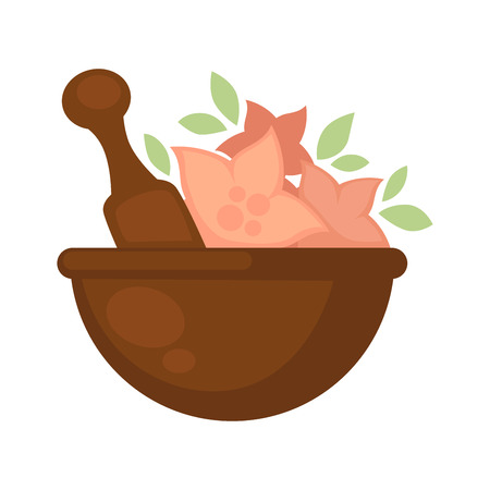 prepare: Brown bowl with special long tool and pink flowers, green leaves for spa treatment. Isolated deep ceramic dish with natural ingredients for making masks or other relaxing things in beauty salon