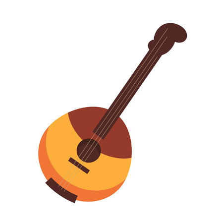music: National Russian and Ukrainian stringed plucked instrument domra, that has wooden hemispherical body of two colors and three strings isolated flat cartoon vector illustration on white background.