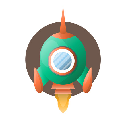 Round spacious space rocket with sharp end, two small wings and fire turbine and brown circle behind isolated vector illustration on white background. Spaceship for cosmos exploration mission.