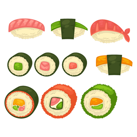 prawns: Big sushi and Maki rolls with black seaweed, small caviar, delicious salmon, king shrimp and green avocado isolated vector illustration on white background. Oriental exotic tasty seafood with rice. Illustration