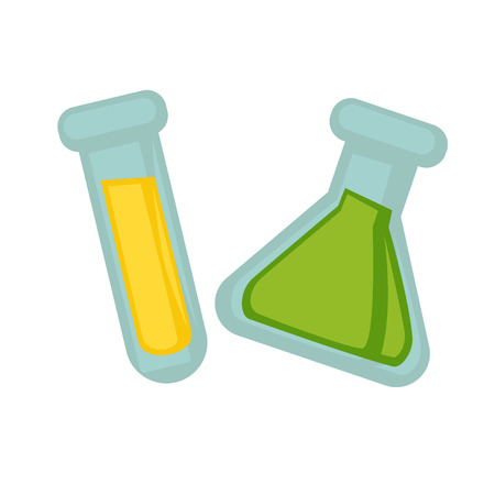 reagent: Transparent flasks of triangular and oblong shapes with toxic dangerous chemical substances isolated vector illustrations on white background. Laboratory equipment for experiments conduction.