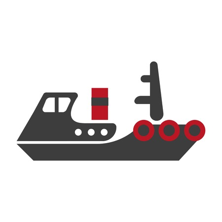 A Minimalistic flat schematic ship composed of separate black and red parts isolated vector illustration on white background. Cartoon old-fashioned model of steamer that transports heavy cargo.