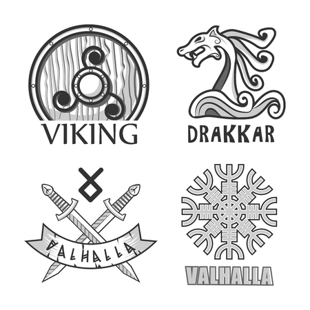 Vikings wooden shield, drakkar stern decoration and valhalla symbols with crossed swords and authentic pattern in form of snowflake isolated monochrome vector illustrations set on white background. Illustration