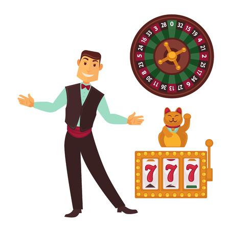 Casino gaming template poster with symbols and man Illustration