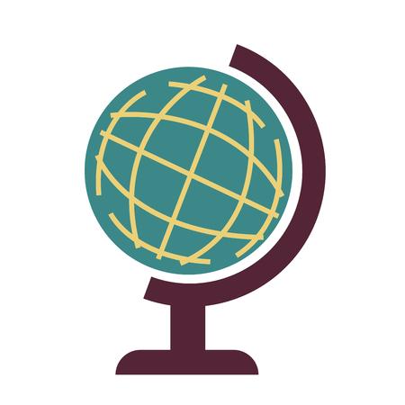 Wereldbol op witte vector grafische illustratie wordt geïsoleerd die