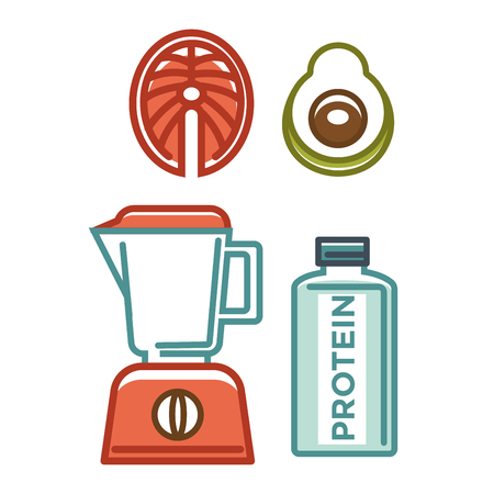 regenerating: Protein bottle near blender and avocado half colorful poster
