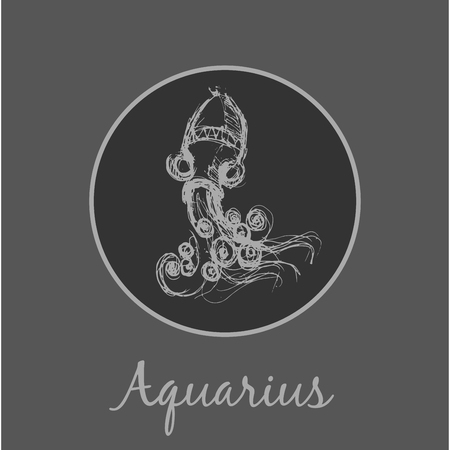 date of birth: Aquarius Astrological zodiac symbol. Horoscope sign.