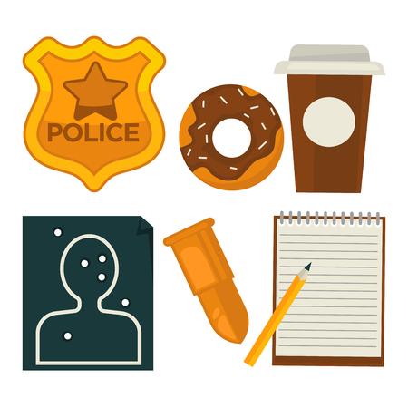 Daily average policeman belongings isolated cartoon illustrations set Ilustração