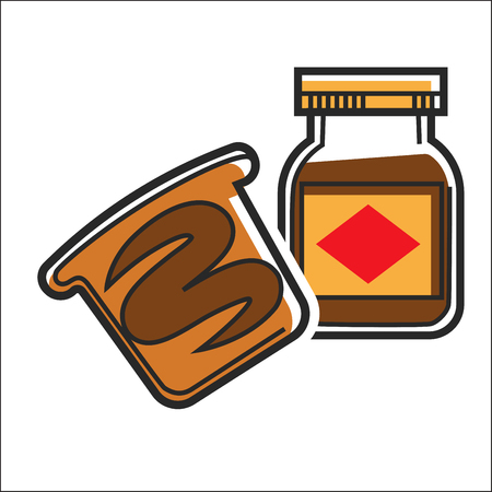 Vector illustration of chocolate sweet paste in glass jar.
