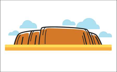 Vector illustration of big orange cliff in desert.