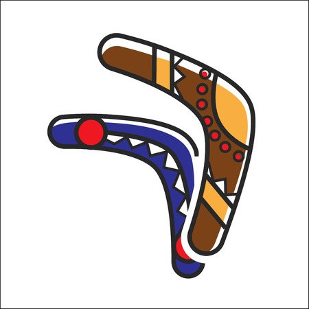 ector illustration of two boomerangs colored traditionally. Illustration