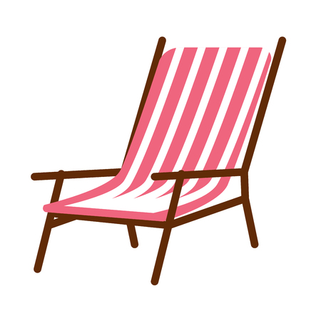 lounge chair: Vector illustration of minimal striped lounge chair isolated on white.