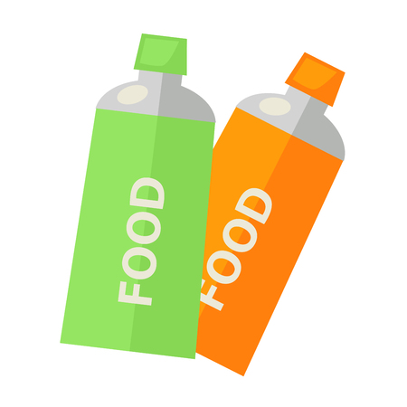 Vector illustration of green and orange colored tubes with food isolated on white.