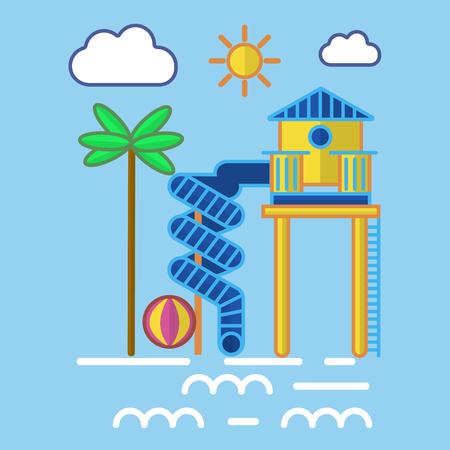Vector illustration of aqua park tube and ladder on resort.