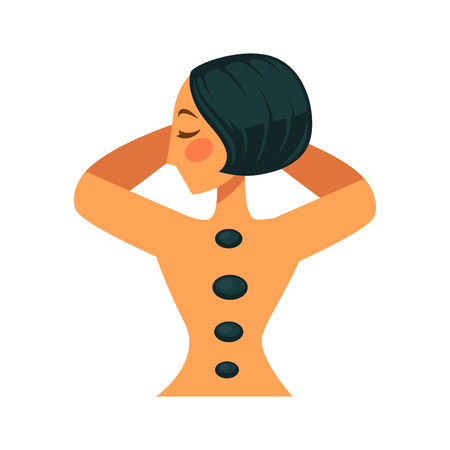 Vector illustration of woman relaxing with stones on her back.