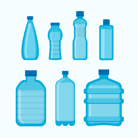 Vector illustration of different blue colored containers for water.