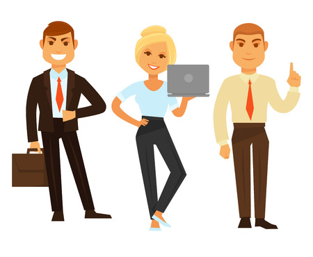 Cheerful office workers Illustration