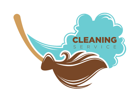 Vector illustration of work with broom as cleaning service logo. Illustration