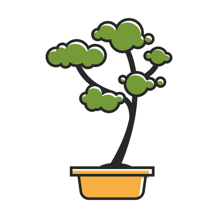 Vector illustration of small traditional potted bonsai tree isolated on white.