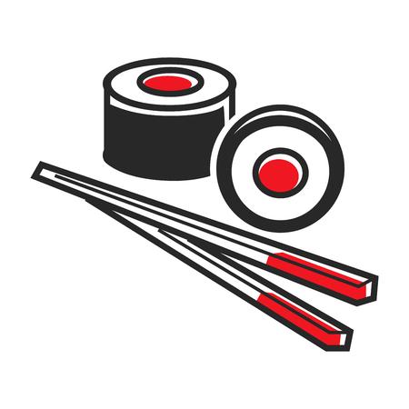 Vector illustration of two hosomaki sushi and sticks for eating isolated on white. Illustration