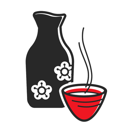 Ceramic bottle and cup with hot sake drink. Vector illustration.